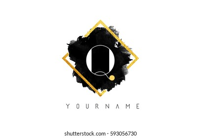 Q Letter Logo Design with Black ink Stroke over Golden Square Frame.