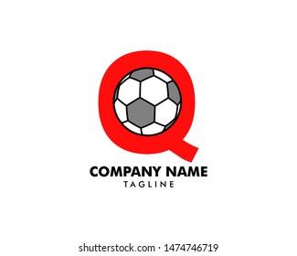Q letter logo, football ball logo design