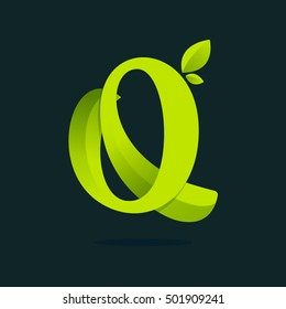 Q letter logo with green leaves. Vector ecology elements for web, t-shirts and cards.