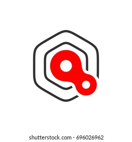 Q Letter Loop Hexagon Shape Logo Template