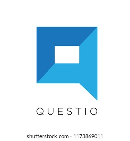 Q Letter Modern Flat Shadow Square Speech Bubbles Logo