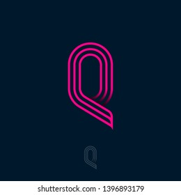 Q letter. Q monogram consist of thin lines isolated on a dark background. Web, UI icon. Identity.