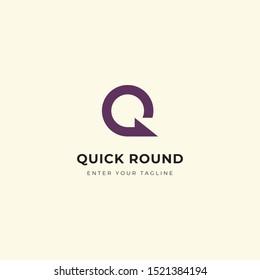 q letter round logo, modern design letter q shaped round.