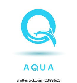 Q letter sign, dolphin logo, water show, 2d vector, eps 8