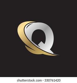 Q letter swoosh golden logo