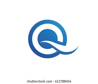 Q letter wave Logo Template vector illustration