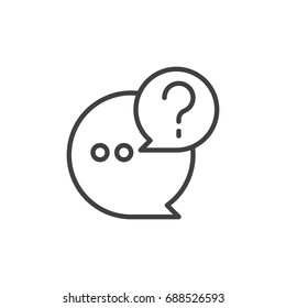 Q and A line icon, outline vector sign, linear style pictogram isolated on white. Questions and answers symbol, logo illustration. Editable stroke. Pixel perfect vector graphics