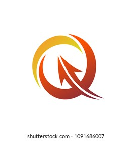 Q Logo With Arrow, Initial Letter Q Logo, Business Logo Template