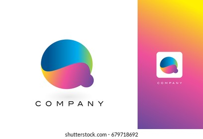 Q Logo Letter With Rainbow Vibrant Colors.Q Colorful Modern Trendy Purple and Magenta Letters Vector Illustration.