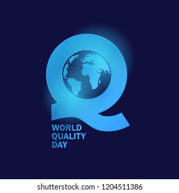 Q Logo for world quality day and more, with globe and glow effect in blue