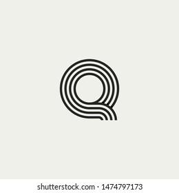 Q monogram. Abstract letter Q logo design. Line creative symbol. Logo branding. Universal vector icon - Vector
