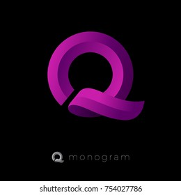 Q monogram. Q letter logo. Beautiful voluminous letter Q as ribbon on a dark background.