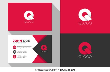 Q Origami Style Letter Logo With Professional Business Card