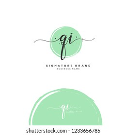 Q I QI Initial logo template vector