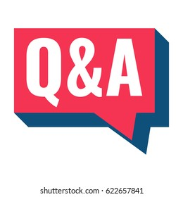 Q & A or question and answer. Speech bubble vector on white background.