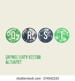 Q R S T Grunge Retro Circular Stamp Type