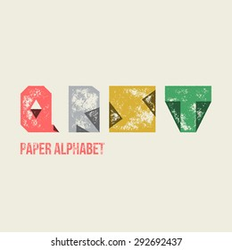 Q R S T - Grunge Retro Paper Type Alphabet - Capital caption letters from folded transparent paper - Typography and infographic resource