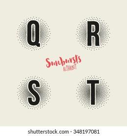 Q R S T Sunbursts Effect Stipple Alphabet