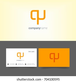 Q U joint logo design vector with business card template