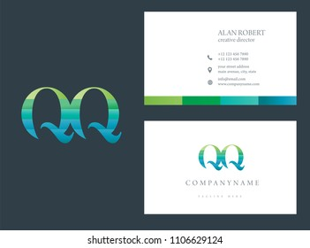 Q & Q Waves letter joint logo design with business card template