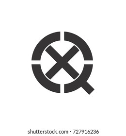 q with x letter logo