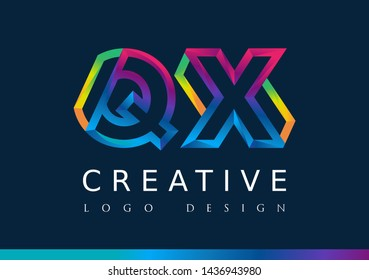 Q X Logo. QX Letter Design Vector with Magenta blue and green yellow color