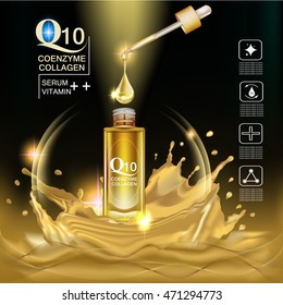 Q10  coenzyme , collagen and Serum , Background Vector Concept with dropper , gold water drop and gold package  in lighting effect ellipse