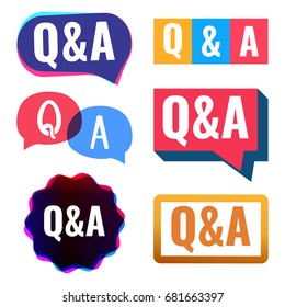 Q&A. Badge, icon, logo set. Vector illustrations on white background.