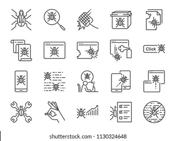 QA and Bug fix icon set. Included icons as bug report, computer virus, spyware, quarantine, quality assurance, Test Case and more.
