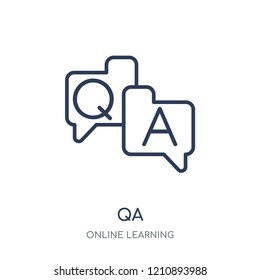 QA icon. QA linear symbol design from Online learning collection.