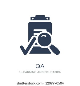 QA icon. Trendy flat vector QA icon on white background from E-learning and education collection, vector illustration can be use for web and mobile, eps10