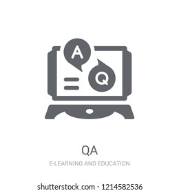 QA icon. Trendy QA logo concept on white background from E-learning and education collection. Suitable for use on web apps, mobile apps and print media.