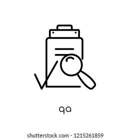 QA icon. Trendy modern flat linear vector QA icon on white background from thin line E-learning and education collection, editable outline stroke vector illustration