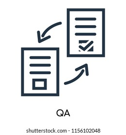 QA icon vector isolated on white background, QA transparent sign , thin symbols or lined elements in outline style