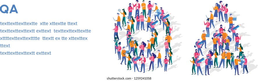 QA Isometric Vector Concept, Group of business people are gathered together in the shape of QA word, for web page, banner, presentation, social media, Crowd of little people.