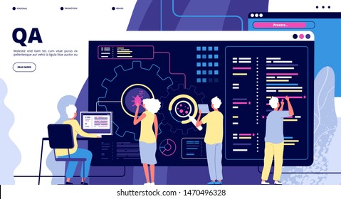 QA landing. Software testing quality assurance. People fixing bugs in hardware device. Vector web page design. Illustration of qa team, quality assurance software