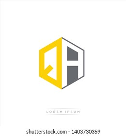 QA Logo Initial Monogram Negative Space Design Template With Yellow and Grey Color - Vector EPS 10