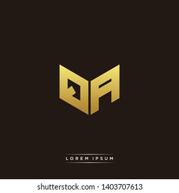 QA Logo Letter Initial Logo Designs Templete with Gold and Black Background