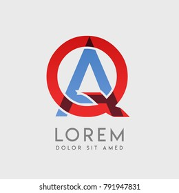 """QA logo letters with """"blue and red"""" gradation"""