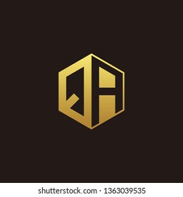 QA Logo Monogram with Negative space gold colors