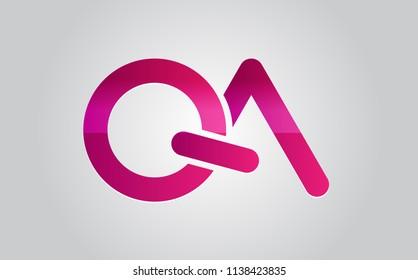 QA Logo. Vector Graphic Branding Letter Element.