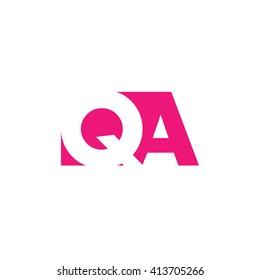 QA Logo. Vector Graphic Branding Letter Element. White Background