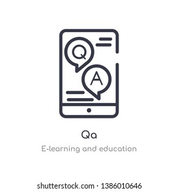 qa outline icon. isolated line vector illustration from e-learning and education collection. editable thin stroke qa icon on white background