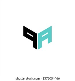 QA / PA Logo Letter Initial With Black and Light Blue Colors