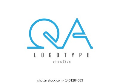 QA Q A blue joined line alphabet letter logo combination suitable as icon design for a company or business