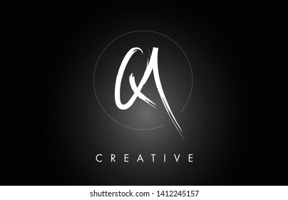 QA Q A Brushed Vector Letter Logo Design with Creative Modern Brush Lettering Texture and Hexagonal Shape. Brush Letters Design Logo Vector Illustration.