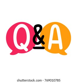 Q&A or question and answer. Badge, mark, symbol, icon vector illustration on white background.