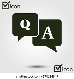 Q&A sign symbol. Speech bubbles with question and answer.