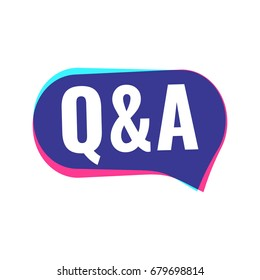 Q&A. Vector badge illustration in modern style on white background.