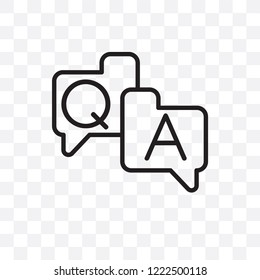 QA vector linear icon isolated on transparent background, QA transparency concept can be used for web and mobile